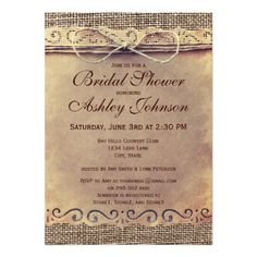 Rustic Country Vintage Bridal Shower Invitations #rustic #country #wedding http://www.zazzle.com/rustic_country_vintage_bridal_shower_invitations-161628948708599358?rf=238133515809110851&tc=PinterestMsPlnr