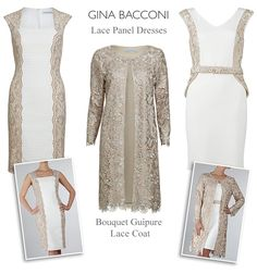Gina Bacconi almond cream ivory champagne wedding outfits Mother of the Bride lace dress and matching coat