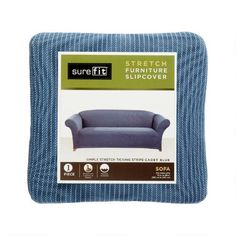 One of my favorite discoveries at ChristmasTreeShops.com: SureFit® Ticking Stripe Solid Stretch Sofa Slipcover