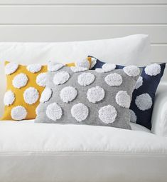 Connect the dots. Our Polka Dot Pillow makes it easier than ever to layer up with playful accent pillows. An oversized, dimensional pompom pattern stretches across the front of this longer, lumbar style. With just a touch of ground color, simply style it with other solids, patterns, shapes, and sizes (but cute enough to style all by itself). Bird Pillow, Flower Pillow, Small Pillows, Decorative Pillows, Throw Pillow Sets, Throw Pillows, Accent Pillows, Velvet Quilt
