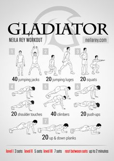 Gladiator Workout What it works: Shoulders, calves, triceps, quads, lower abs, lateral abs, core.