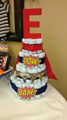 Diaper cake for my sister in laws {Super hero themed} baby shower!