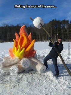 Giant fire and marshmallow snow sculpture by Schaffer Art Studio. To get the col. - Giant fire and marshmallow snow sculpture by Schaffer Art Studio. To get the color of the flames an - Rasengan Vs Chidori, Ice Art, Snow Sculptures, Sculpture Art, Sculpture Ideas, Metal Sculptures, Abstract Sculpture, Bronze Sculpture, Winter Fun