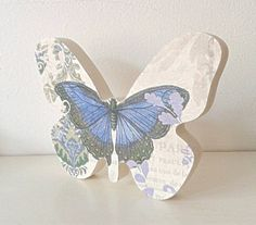 Butterfly freestanding blue and lilac by handmadebydebmac on Etsy