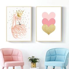 Wall Pictures for Kids Rooms Nordic Nursery Wall Art Swan Cartoon Canvas Painting Pink Heart Poster Little Princess Art Unframed Nursery Canvas Art, Diy Canvas Art, Wall Canvas, Canvas Prints, Nursery Prints, Heart Poster, Name Wall Art, Kids Room Wall Art, My New Room