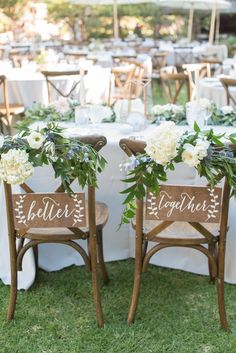 Wedding Ideas Discover Better Together Chair signs Mr and Mrs Signs Mr and Mrs Chair Signs Mr and Mrs Wooden Wedding Signs Mr Mrs signs Mr Mrs chair -nc Wedding Chair Signs, Wooden Wedding Signs, Wedding Table, Wedding Backyard, Wedding Centerpieces, Outdoor Wedding Chairs, Camping Wedding, Spring Wedding Decorations, Cake Wedding