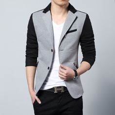 Mens blazers 2014 Spring Slim Patchwork blazer Outerwear Plus size Available blazers men  jacket Casual jacket US $49.89