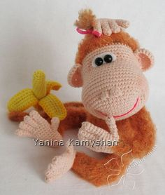 PLEASE NOTE: THIS IS A PATTERN ONLY and NOT THE FINISHED TOY!!!  Crochet pattern by Yanina Kamyshan  MATERIALS AND TOOLS you will need: - smooth beige yarn – less than 50 g; - fancy ginger yarn - 50 g; - a piece of white felt for the white of the eyes; - 2 black half pearls for the pupils of the eyes (I used ø 8 mm); - pink embroidery thread for the mouth; - crochet hook matching the yarn weight; - wire for the arms, legs and tail (optional) - plaster - adhesive-backed fabric tape 1 cm wide…