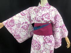 浴衣 YUKATA JAPONAIS - MOTIFS ROSES BLANC ROSE
