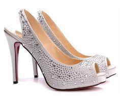 wedding maybe? Peep Toe Wedding Shoes, Rhinestone Wedding Shoes, Bridesmaid Dresses, Wedding Dresses, Girly Things, Christian Louboutin, Dress Shoes, Jewels, My Style