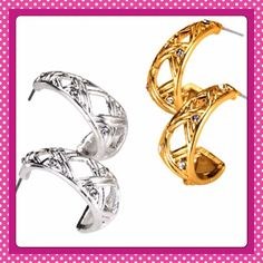 Basket weave earrings Silvertone basket weave earrings with rhinestone accents. Look for matching bracelet and purchase both with discount. New boxed never worn. No trades no paypal avon Jewelry Earrings