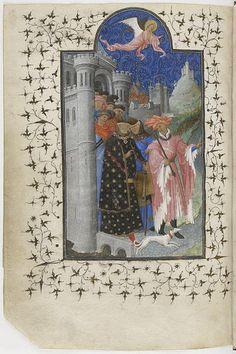 Départ pour un pèlerinage - Petites Heures du duc de Berry. Jean de Berry is depicted here as a pilgrim. He is humbly setting off on foot to an unknown sanctuary.