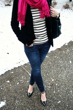 navy striped shirt w/ coral cardigan and cute scarf?