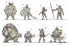 Some out of my head doodles to warm up.  Need to do this exercise more often! #drawingexercises #anatomy #constructiondrawings #proportions #drawing #sketching #sketchbook #fantasy #dwarves #elves #ogre #girl #deamon #doom #linework #weapons #characterdesign #animation