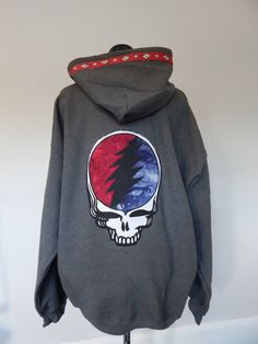 Grateful Dead Steal Your Face Stealie Blue Wool Hoodie // Unisex Adult Sizes Medium & XL Available eWNBgZ