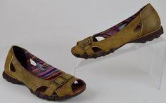 Skechers Bikers Originals 6 M Women's Brown Distressed Leather Peep Toe Flats #SKECHERS #Flats #Casual