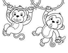 Illustration Of Cartoon Monkeys