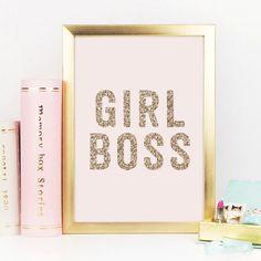 Girl Boss, Gold Decor, Gold Glitter, Girl Boss Print, Boss Lady, Office Decor, Desk Accessories, Gift For Her, Inspirational Quote,Printable by RainCityDesignCo on Etsy https://www.etsy.com/listing/269470882/girl-boss-gold-decor-gold-glitter-girl