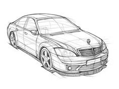 Car Sketch Practice Worked in A4 / 4B Pencil 20100725