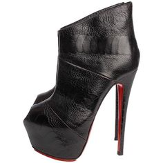 Preowned Louboutin Boudubou Peep-toe Ankle Boots - Black Leather /... (79820 DZD) ❤ liked on Polyvore featuring shoes, boots, ankle booties, black, black ankle booties, black bootie, peep toe bootie, peep-toe booties and leather booties