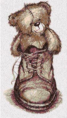 Teddy Bear in boot photo stitch free embroidery design - Photo stitch embroidery - Machine embroidery forum