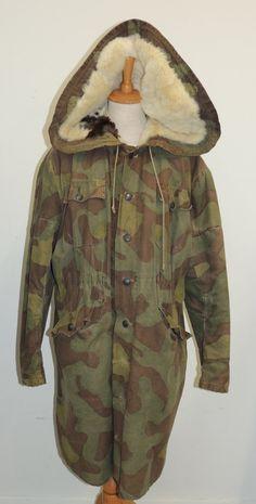German WW2 Winter Fur lined SS PARKA ( Camo) 100% ORIGINAL - militarytrader.co.uk
