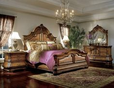 This Is The Tuscano Collection In Pine Solids And Pine Veneers With A  Biscotti Finish. This Is The Tuscano Mansion Bedroom Set.