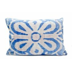 Ikat Pillow with Blue Floral Print by Chairish | Chairish