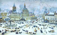 La Place Lubyanskaya en hiver, laver de Konstantin Yuon (1875-1958, Russia)