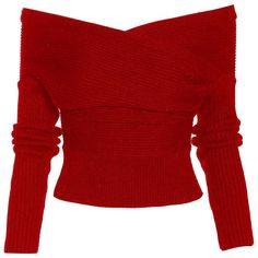 """""""Drop It Cross Plunging Sweater ($24) ❤ liked on Polyvore featuring tops, sweaters, sexy tops, plunging neckline tops, sexy evening tops, red top and special occasion tops"""