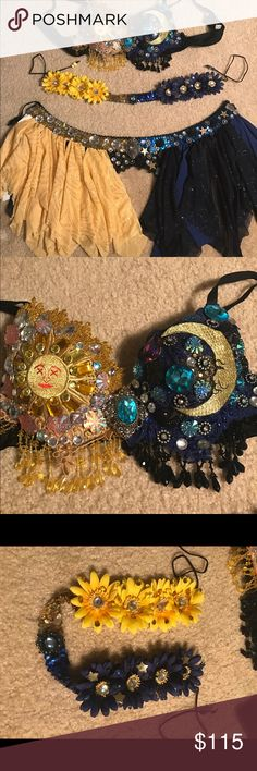 Sun and Moon rave outfit Sun and moon rave bra, headpiece, and garter belt skirt. Bra size 34b/32c Intimates & Sleepwear Bras