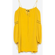 Zara Dress With Bardot Neckline ($40) ❤ liked on Polyvore featuring dresses, oil, zara dresses and orange dress