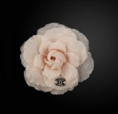 Chanel organza camellia embellished with Chanel signature