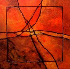 Gemstone 3R by Carol Nelson mixed media ~ 14 x 14
