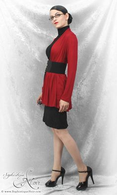 Sophistique Noir - Gothic Fashion for the Mature: Red & Black Week, Day 2: Black Turtleneck, Red Cardi, Wide Belt. Very cute