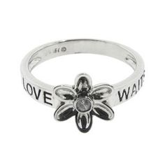 """Sterling Silver Daisy Flower """"LOVE WAITS"""" Diamond Purity Ring Available Exclusively at Gemologica.com Valentine's Day 2015 Jewelry Gift Ideas for Him, Her and Kids. Gemologica has the perfect homemade and creative gifts for your boyfriend, girlfriend and for couples including rings, earrings, bracelets, necklaces and pendants. Shop now for special savings at https://www.gemologica.com Gift Guide Located at https://www.gemologica.com/jewelry-gift-guide-c-82.html"""