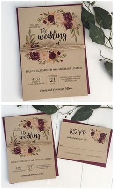 Rustic wedding invitation. Marsala wedding invitation. Burgundy wedding #weddinginvitation #weddinginvitations