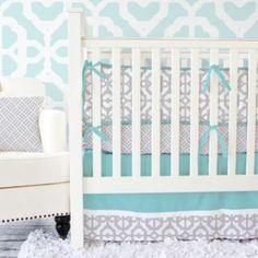 Caden Lane® Mod Lattice Crib Bedding Collection in Aqua/Grey - buybuyBaby.com