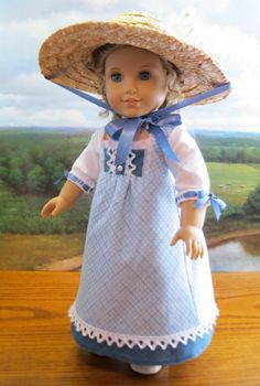Summer gown for Caroline Abbott 1812 Regency Era American Girl doll 18in"