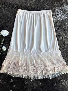 Skirt Slip Extender Lace Dot Mesh Ivory - The Klassy Girl Boutique Lace Dress Extender, Slip Extender, Modest Skirts, Modest Outfits, Street Hijab Fashion, Abaya Fashion, Disney Wedding Dresses, Pretty Lingerie, Clothes For Women