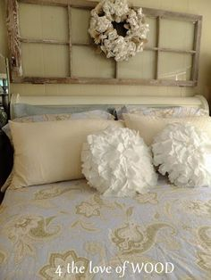 iron sleigh bed with quilted cover and burlap bed skirt, old
