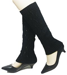 Black Hazed Winter Knit Crochet Leg Warmers Leggings ** You can find more details by visiting the image link.