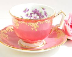 Stunning Aynsley Tea cup and Saucer, English Fine Bone China Tea Set. Pink and Gold with Violets Tea Cup.Tea Party, Bridal Shower,Favor,Gift