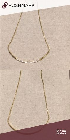 Stella & Dot brand new crescent moon necklace gold Stella & Dot brand new crescent moon necklace in gold it is versatile 2 in 1. You can wear it on the sparkle side or the all gold side. You can adjust it different lengths. It is a great layering necklace. Half off!!! Stella & Dot Jewelry Necklaces