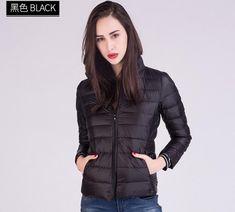 8e40091a2a2 Outerwear Winter Coat Spring Jackets Autumn Collar Stand Coats Short Slim Women  Jacket Down