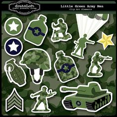 Little Green Army Men Clipart Set for boys party themes invitations stationary Army Birthday Parties, Army's Birthday, Birthday Party Themes, Camo Party, Camouflage Party, Man Clipart, Green Army Men, Military Party, Party Themes For Boys
