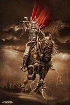 Slavic mythology by Igor Ozhiganov / God Perun In Slavic mythology, Perun (Cyrillic: Перун) is the highest god of the pantheon and the god of thunder and lightning.