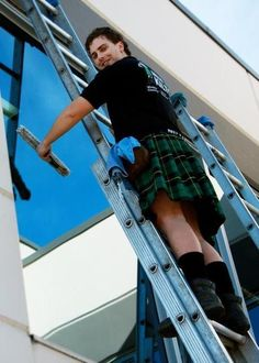 Please come wash my windows. I'll hold the ladder for you! // Window Cleaning Franchise - Men In Kilts Austin, TX Cleaning Franchise, Scottish Man, Scottish Kilts, Guys In Skirts, Men Wearing Skirts, Texas Man, New Business Ideas, Men In Kilts, Komplette Outfits