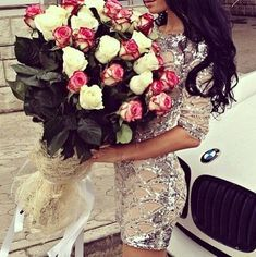 amazing, beautiful, bmw, boyfriend, curls, fashion, flowers, gift, girl, long hair, luxury, present, romantic, rose, roses, style