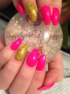 Gels hot pink and gold